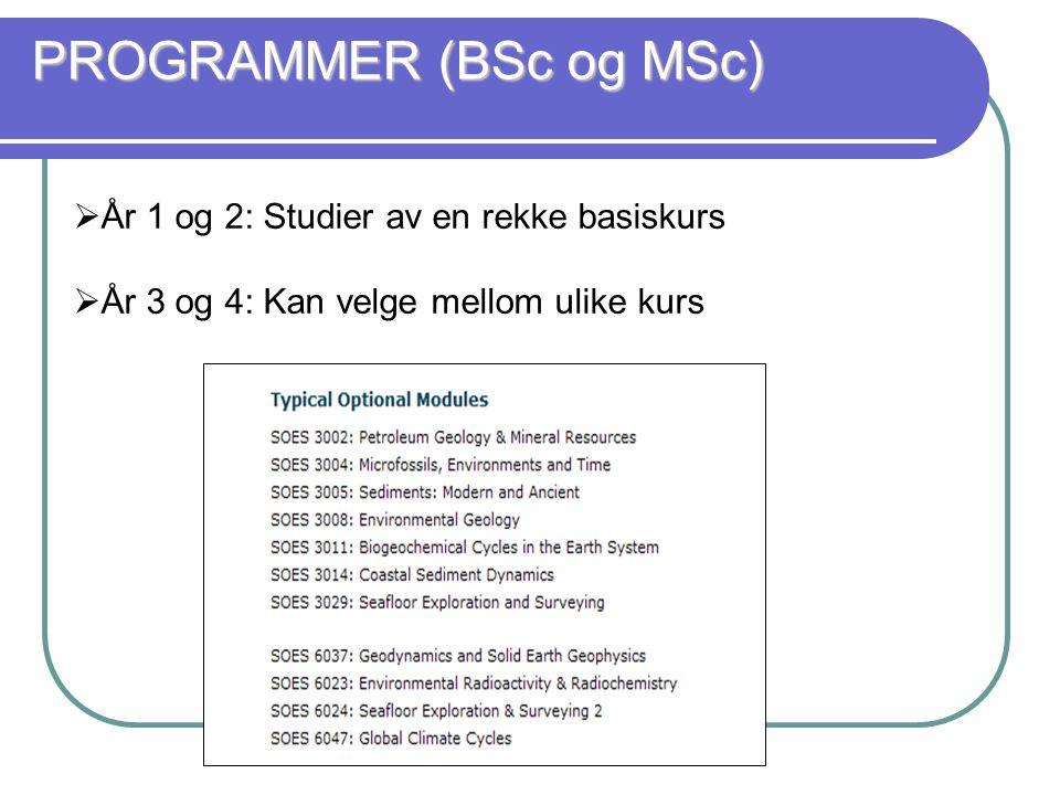 PROGRAMMER (BSc og MSc)  År 1 og 2: Studier av en rekke basiskurs  År 3 og 4: Kan velge mellom ulike kurs