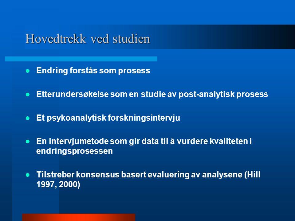 Hovedtrekk ved studien Endring forstås som prosess Etterundersøkelse som en studie av post-analytisk prosess Et psykoanalytisk forskningsintervju En i