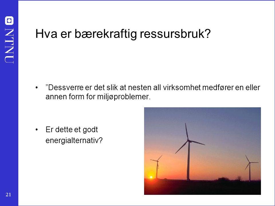 """21 Hva er bærekraftig ressursbruk? """"Dessverre er det slik at nesten all virksomhet medfører en eller annen form for miljøproblemer. Er dette et godt e"""