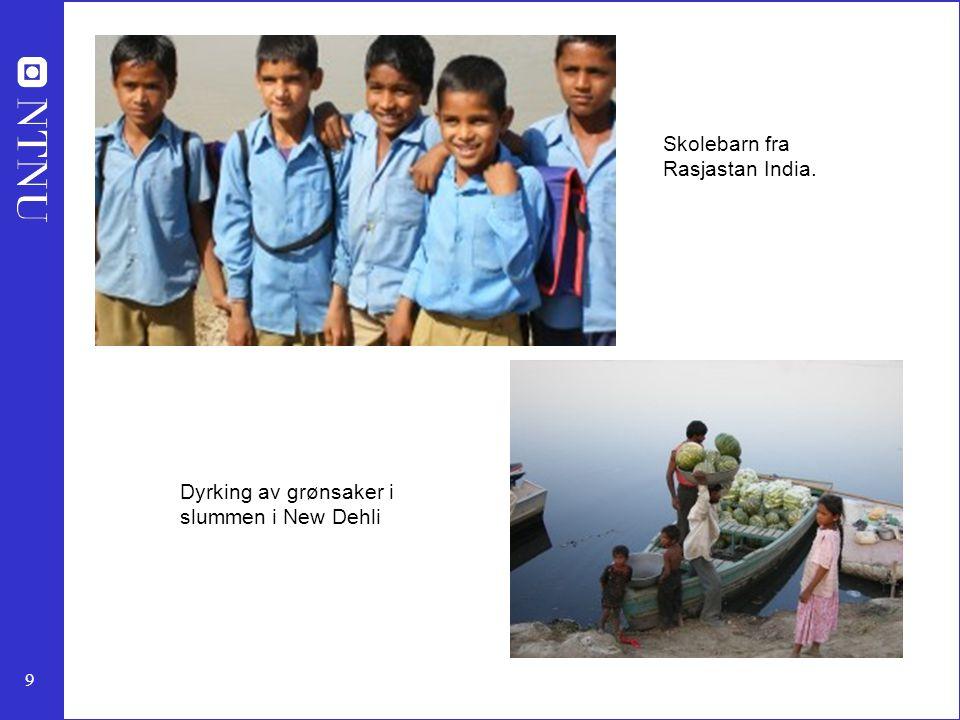 9 Skolebarn fra Rasjastan India. Dyrking av grønsaker i slummen i New Dehli
