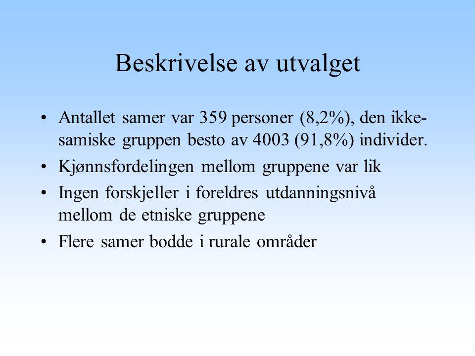Beskrivelse av utvalget Antallet samer var 359 personer (8,2%), den ikke- samiske gruppen besto av 4003 (91,8%) individer. Kjønnsfordelingen mellom gr