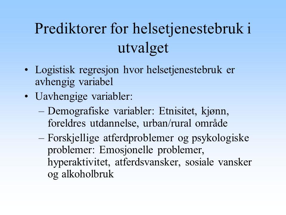 Prediktorer for helsetjenestebruk i utvalget Logistisk regresjon hvor helsetjenestebruk er avhengig variabel Uavhengige variabler: –Demografiske varia