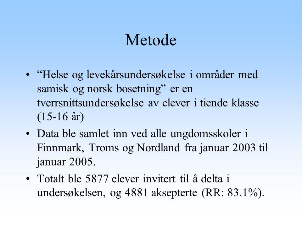 "Metode ""Helse og levekårsundersøkelse i områder med samisk og norsk bosetning"" er en tverrsnittsundersøkelse av elever i tiende klasse (15-16 år) Data"