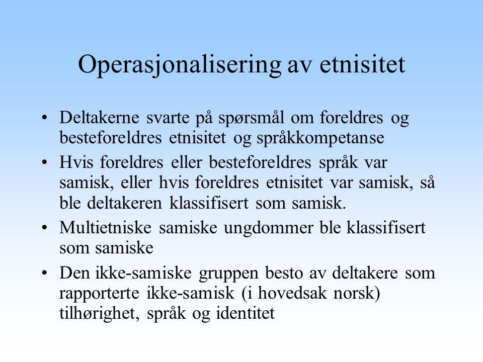 Beskrivelse av utvalget Antallet samer var 359 personer (8,2%), den ikke- samiske gruppen besto av 4003 (91,8%) individer.