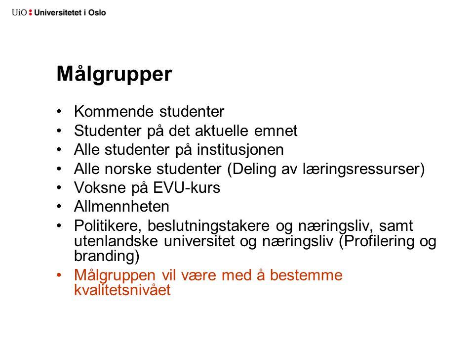 Målgrupper Kommende studenter Studenter på det aktuelle emnet Alle studenter på institusjonen Alle norske studenter (Deling av læringsressurser) Voksn
