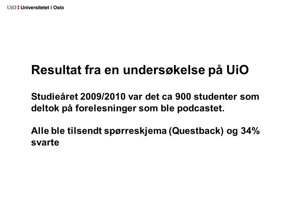 Resultat fra en undersøkelse på UiO Studieåret 2009/2010 var det ca 900 studenter som deltok på forelesninger som ble podcastet. Alle ble tilsendt spø