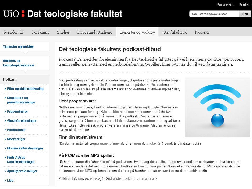 Høgskolen i Østfold Oslofjordalliansen Camtasia Relay installert på felles server Alle lærere og studenter har tilgang Åpne Power Point, trykk Record Lyd og skjermbilde lagres, komprimeres og publiseres automatisk