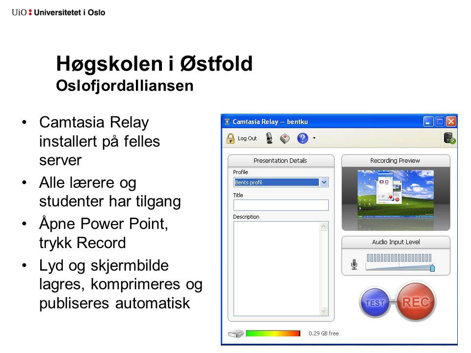 Høgskolen i Østfold Oslofjordalliansen Camtasia Relay installert på felles server Alle lærere og studenter har tilgang Åpne Power Point, trykk Record