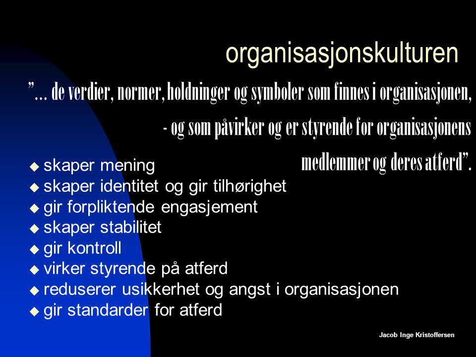 organisasjonskulturen  skaper mening  skaper identitet og gir tilhørighet  gir forpliktende engasjement  skaper stabilitet  gir kontroll  virker