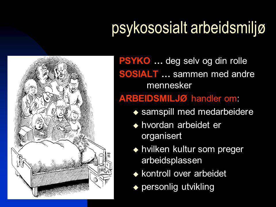 psykososialt arbeidsmiljø PSYKO … deg selv og din rolle SOSIALT … sammen med andre mennesker ARBEIDSMILJØ handler om:  samspill med medarbeidere  hv
