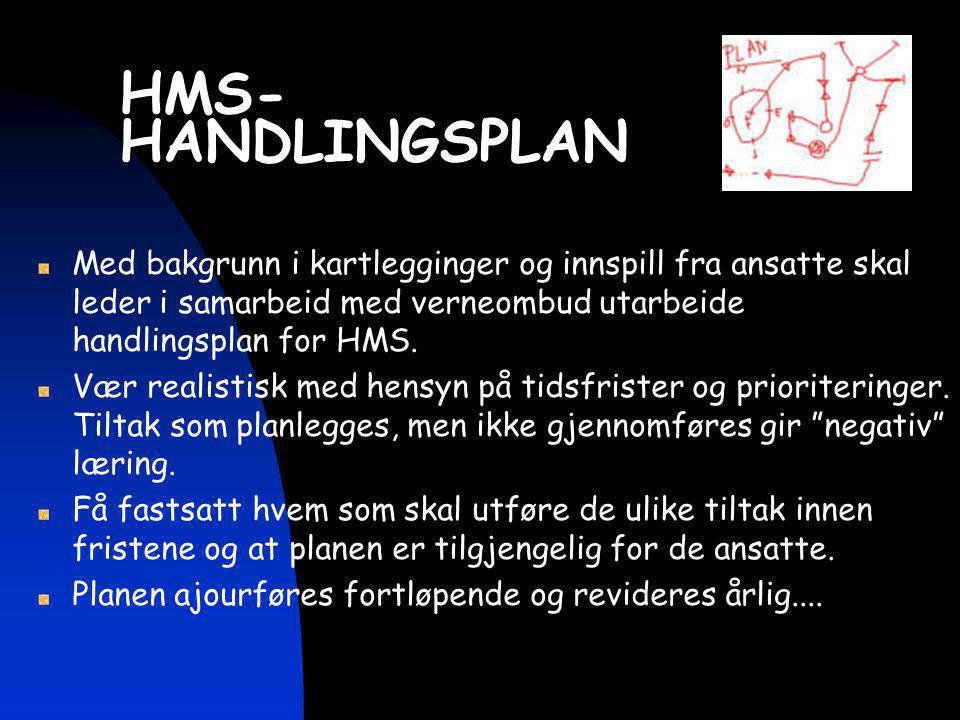 HMS- HANDLINGSPLAN Med bakgrunn i kartlegginger og innspill fra ansatte skal leder i samarbeid med verneombud utarbeide handlingsplan for HMS. Vær rea