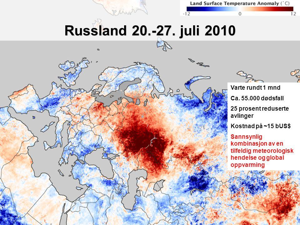 Helge Drange Geofysisk institutt Universitetet i Bergen Russland 20.-27. juli 2010 Varte rundt 1 mnd Ca. 55.000 dødsfall 25 prosent reduserte avlinger