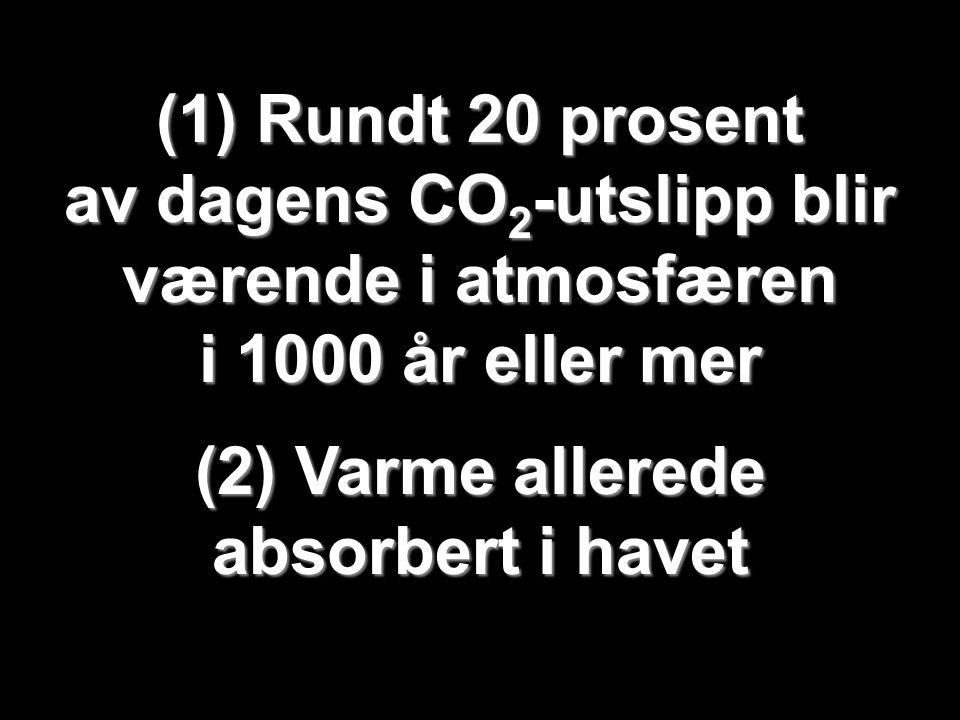 Helge Drange Geofysisk institutt Universitetet i Bergen (1) Rundt 20 prosent av dagens CO 2 -utslipp blir værende i atmosfæren i 1000 år eller mer (2)