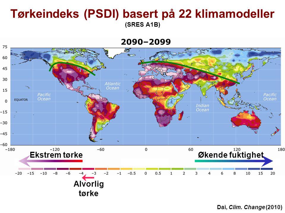 Helge Drange Geofysisk institutt Universitetet i Bergen Alvorlig tørke Ekstrem tørkeØkende fuktighet Tørkeindeks (PSDI) basert på 22 klimamodeller (SR