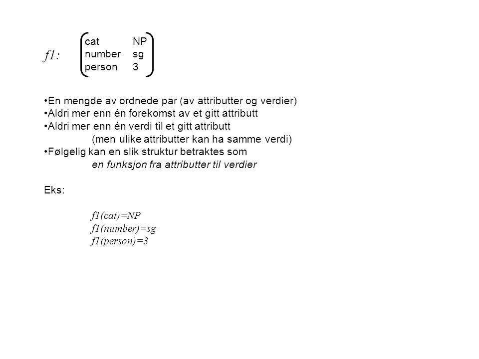catNP numbersg person3 En mengde av ordnede par (av attributter og verdier) Aldri mer enn én forekomst av et gitt attributt Aldri mer enn én verdi til et gitt attributt (men ulike attributter kan ha samme verdi) Følgelig kan en slik struktur betraktes som en funksjon fra attributter til verdier Eks: f1(cat)=NP f1(number)=sg f1(person)=3 f1:
