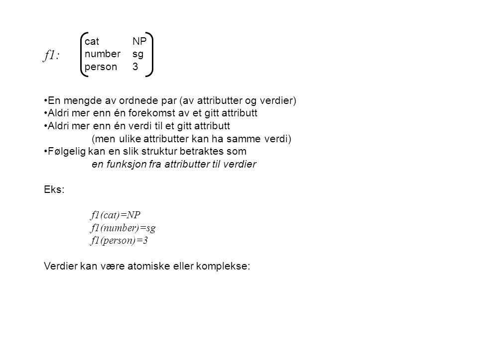 catNP numbersg person3 En mengde av ordnede par (av attributter og verdier) Aldri mer enn én forekomst av et gitt attributt Aldri mer enn én verdi til et gitt attributt (men ulike attributter kan ha samme verdi) Følgelig kan en slik struktur betraktes som en funksjon fra attributter til verdier Eks: f1(cat)=NP f1(number)=sg f1(person)=3 Verdier kan være atomiske eller komplekse: f1: