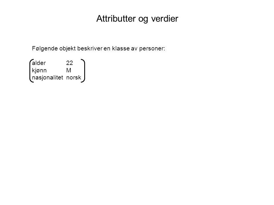Attributter og verdier Følgende objekt beskriver en klasse av personer: alder 22 kjønn M nasjonalitet norsk Et grammatisk eksempel:
