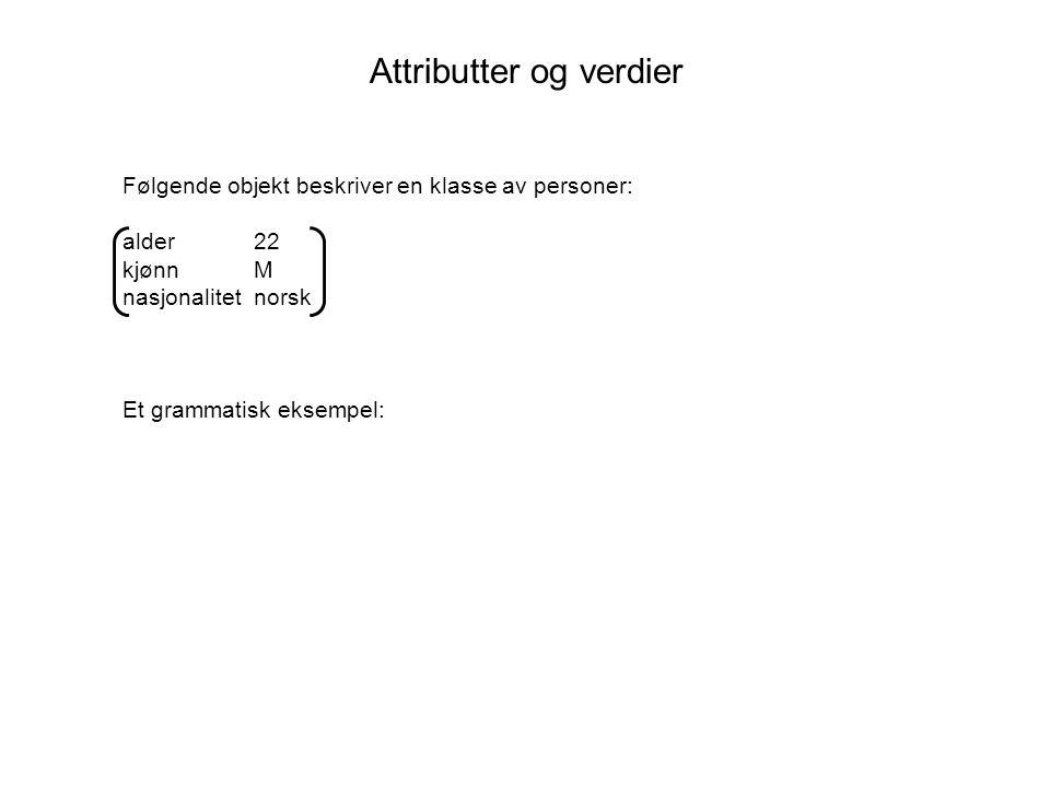 Attributter og verdier Følgende objekt beskriver en klasse av personer: alder 22 kjønn M nasjonalitet norsk Et grammatisk eksempel: catNP numbersg person3