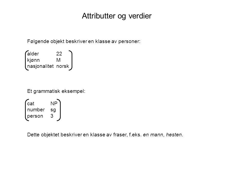 Inkorporering av unifikasjon i en frasestrukturgrammatikk Inkorporering av kategori-informasjon i trekkstrukturene: S -> NP VP ‹S› = ‹VP› ‹S subject› = ‹NP› erstattes av: 0 -> 1 2 ‹0 cat› = S ‹1 cat› = NP ‹2 cat› = VP ‹0 head› = ‹2 head› ‹0 head subject› ‹1 head›