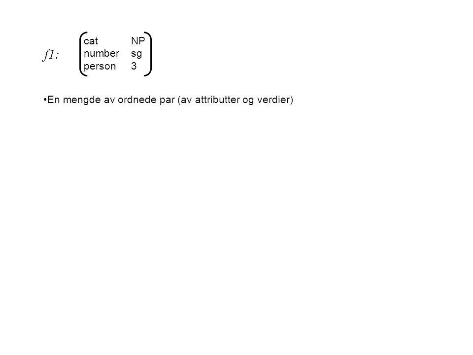 catNP numbersg person3 En mengde av ordnede par (av attributter og verdier) Aldri mer enn én forekomst av et gitt attributt f1: