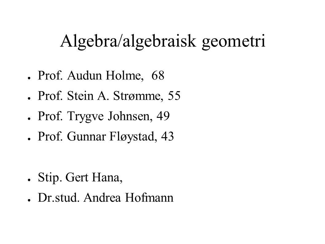 Algebra/algebraisk geometri ● Prof.Audun Holme, 68 ● Prof.