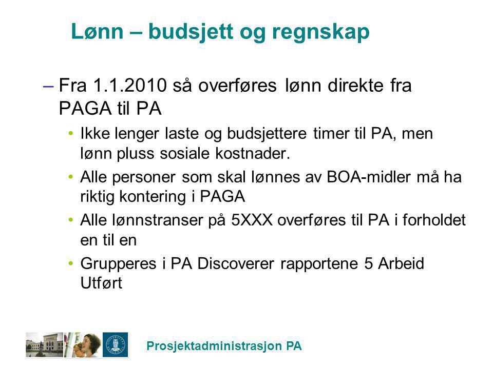 Prosjektadministrasjon PA Lønn – budsjett og regnskap –Fra 1.1.2010 så overføres lønn direkte fra PAGA til PA Ikke lenger laste og budsjettere timer t