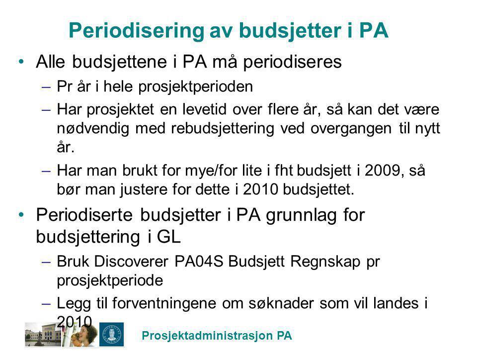 Prosjektadministrasjon PA Periodisering av budsjetter i PA Alle budsjettene i PA må periodiseres –Pr år i hele prosjektperioden –Har prosjektet en lev