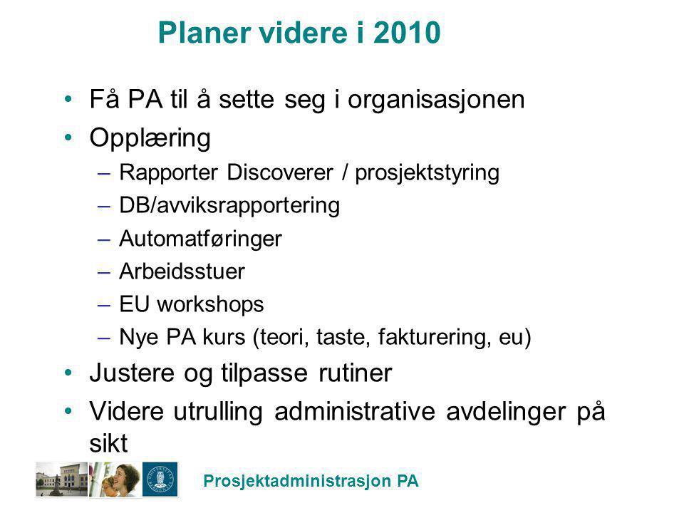 Prosjektadministrasjon PA Planer videre i 2010 Få PA til å sette seg i organisasjonen Opplæring –Rapporter Discoverer / prosjektstyring –DB/avviksrapp