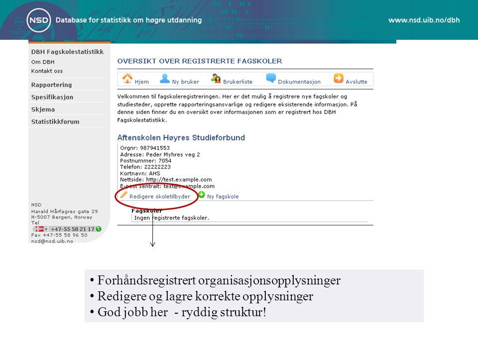 Forhåndsregistrert organisasjonsopplysninger Redigere og lagre korrekte opplysninger God jobb her - ryddig struktur!