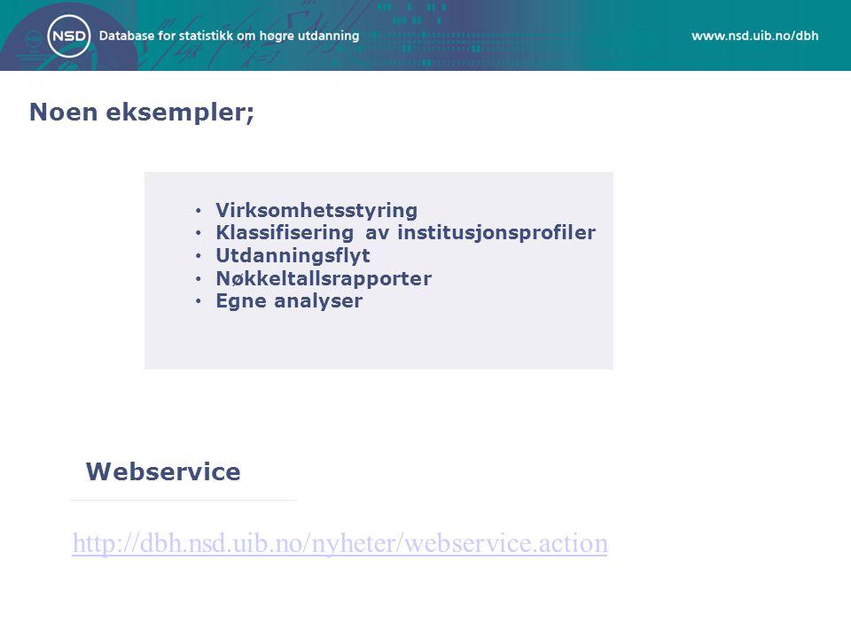 Noen eksempler; Webservice http://dbh.nsd.uib.no/nyheter/webservice.action Virksomhetsstyring Klassifisering av institusjonsprofiler Utdanningsflyt Nøkkeltallsrapporter Egne analyser