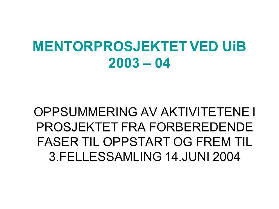 MENTORPROSJEKTET VED UiB 2003 – 04 OPPSUMMERING AV AKTIVITETENE I PROSJEKTET FRA FORBEREDENDE FASER TIL OPPSTART OG FREM TIL 3.FELLESSAMLING 14.JUNI 2004