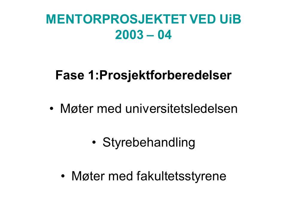 MENTORPROSJEKTET VED UiB 2003 – 04 Fase 1:Prosjektforberedelser Møter med universitetsledelsen Styrebehandling Møter med fakultetsstyrene