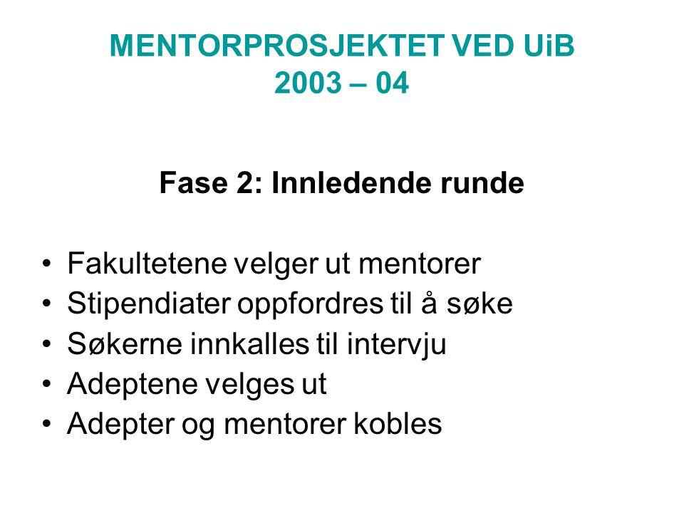 MENTORPROSJEKTET VED UiB 2003 – 04 Fase 2: Innledende runde Fakultetene velger ut mentorer Stipendiater oppfordres til å søke Søkerne innkalles til intervju Adeptene velges ut Adepter og mentorer kobles