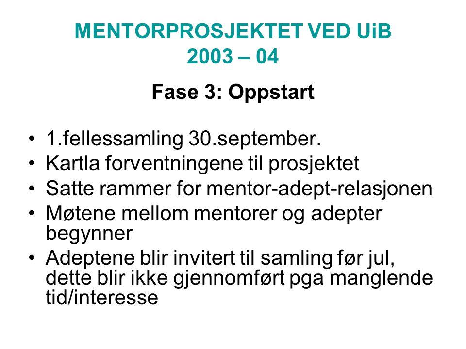 MENTORPROSJEKTET VED UiB 2003 – 04 Fase 3: Oppstart 1.fellessamling 30.september.