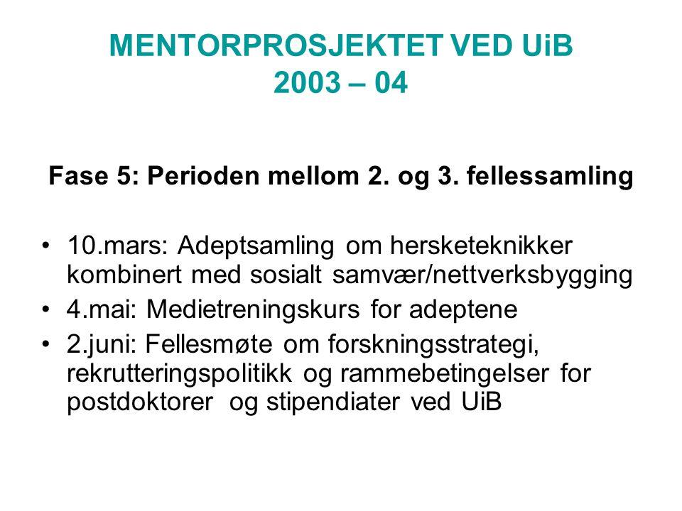 MENTORPROSJEKTET VED UiB 2003 – 04 Fase 5: Perioden mellom 2.