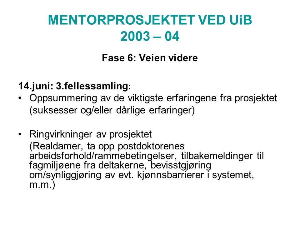 MENTORPROSJEKTET VED UiB 2003 – 04 Fase 6: Veien videre 14.juni: 3.fellessamling : Oppsummering av de viktigste erfaringene fra prosjektet (suksesser og/eller dårlige erfaringer) Ringvirkninger av prosjektet (Realdamer, ta opp postdoktorenes arbeidsforhold/rammebetingelser, tilbakemeldinger til fagmiljøene fra deltakerne, bevisstgjøring om/synliggjøring av evt.