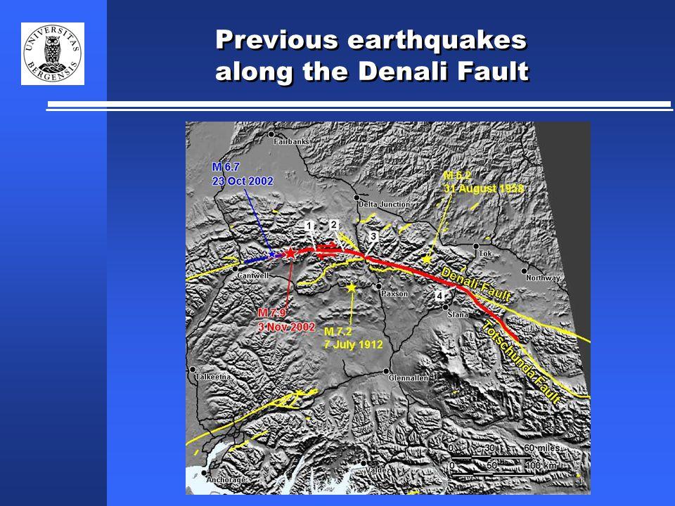 Previous earthquakes along the Denali Fault