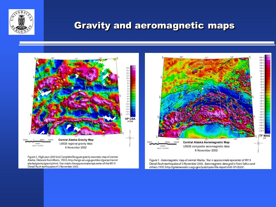 Gravity and aeromagnetic maps