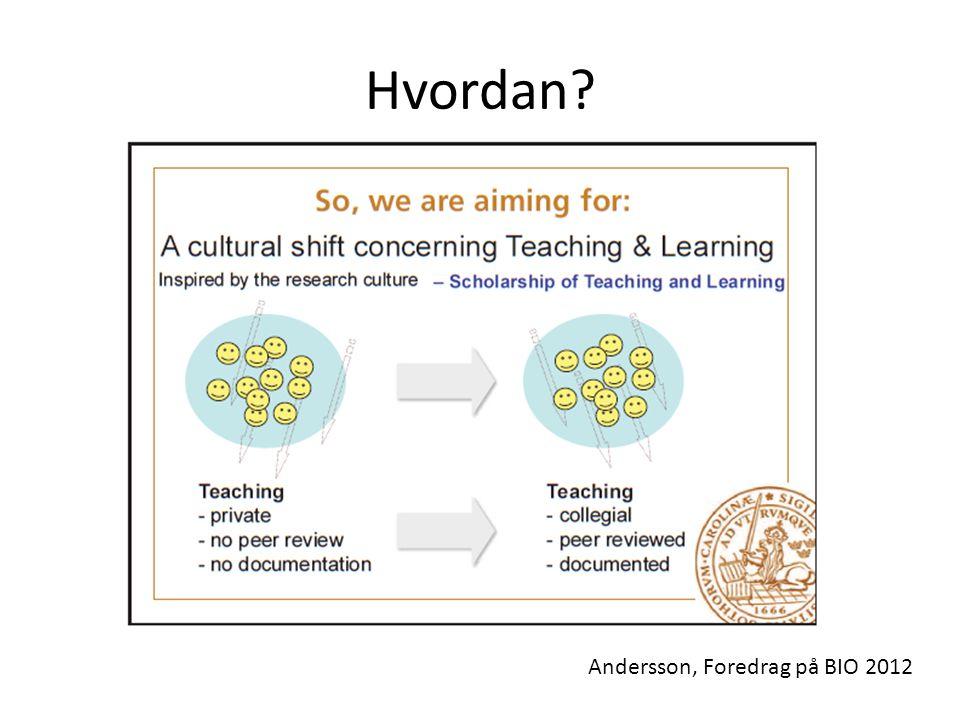 Hvordan? Andersson, Foredrag på BIO 2012