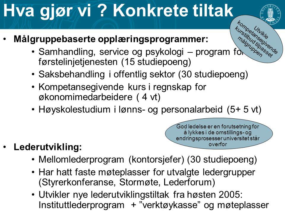 Hva gjør vi ? Konkrete tiltak Målgruppebaserte opplæringsprogrammer: Samhandling, service og psykologi – program for førstelinjetjenesten (15 studiepo