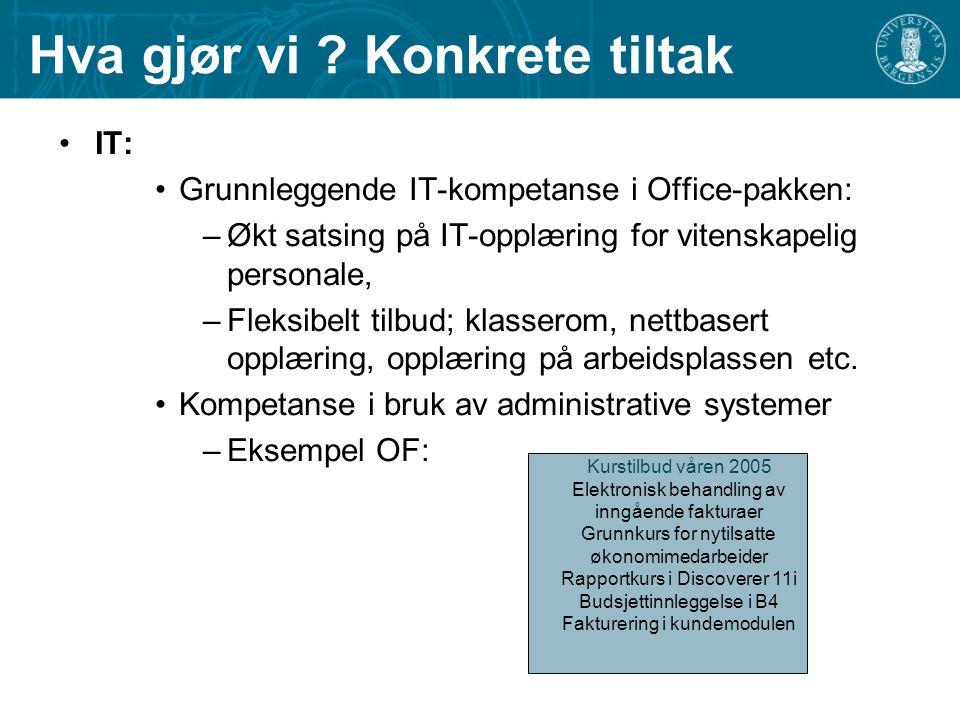 Hva gjør vi ? Konkrete tiltak IT: Grunnleggende IT-kompetanse i Office-pakken: –Økt satsing på IT-opplæring for vitenskapelig personale, –Fleksibelt t