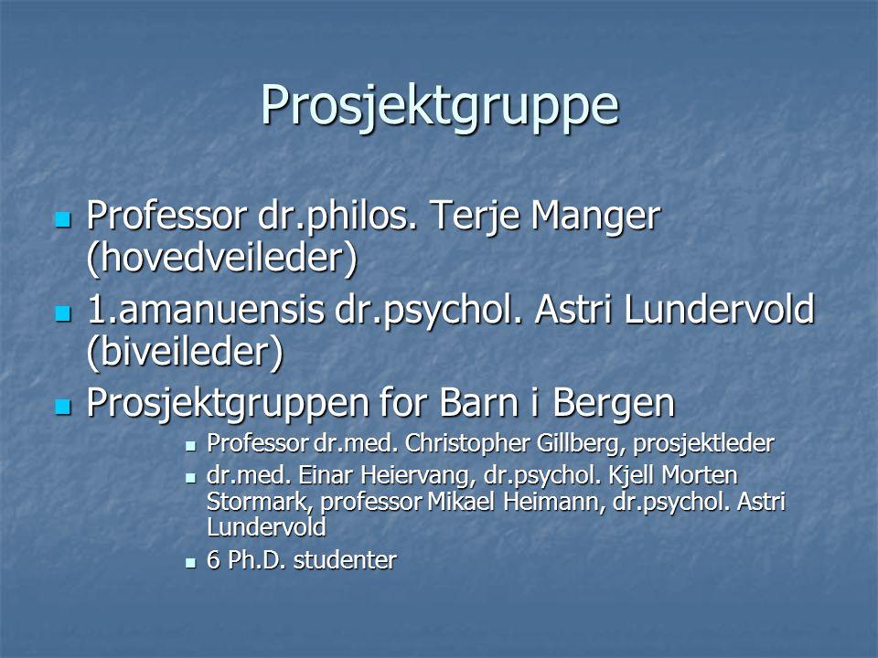 Prosjektgruppe Professor dr.philos. Terje Manger (hovedveileder) Professor dr.philos.
