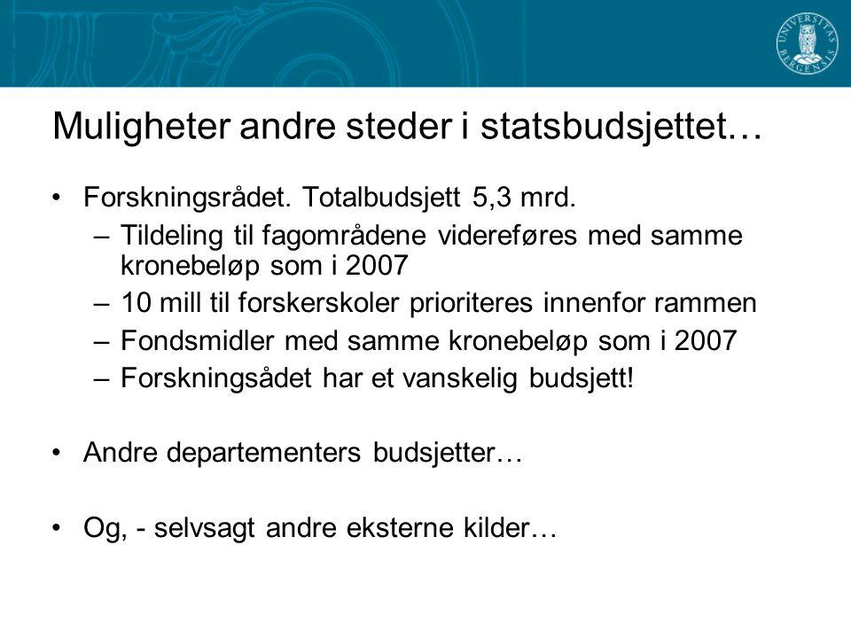 Muligheter andre steder i statsbudsjettet… Forskningsrådet.