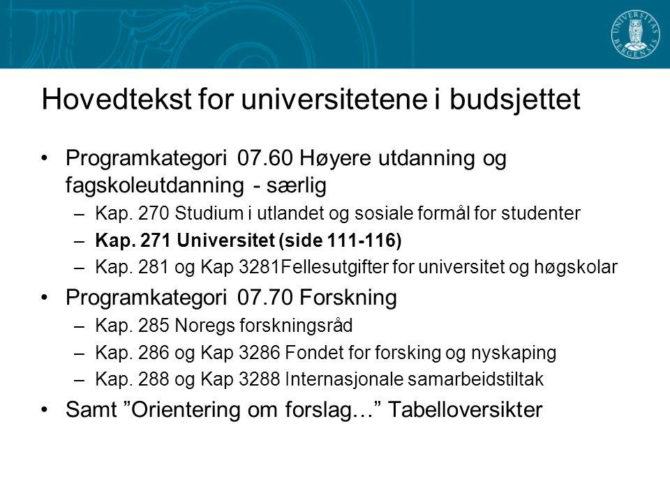 Hovedtekst for universitetene i budsjettet Programkategori 07.60 Høyere utdanning og fagskoleutdanning - særlig –Kap.