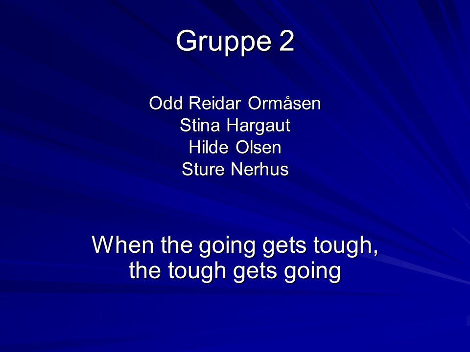 Gruppe 2 Odd Reidar Ormåsen Stina Hargaut Hilde Olsen Sture Nerhus When the going gets tough, the tough gets going