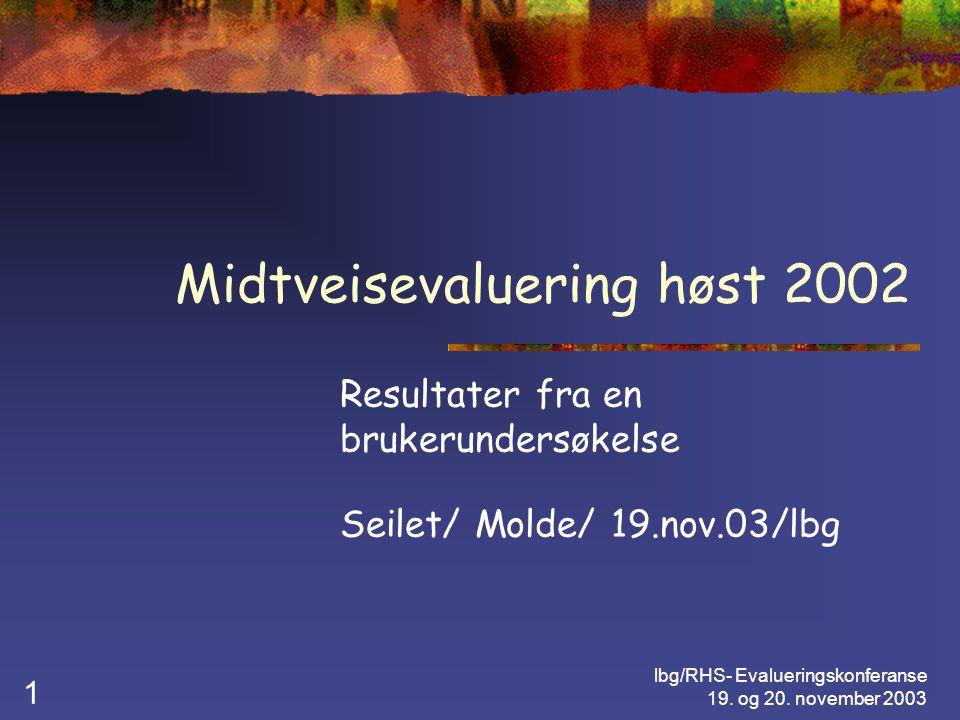 lbg/RHS- Evalueringskonferanse 19.og 20. november 2003 12 RHS-Midtveisevaluering høsten 2002 1.