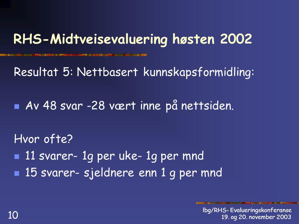 lbg/RHS- Evalueringskonferanse 19. og 20.
