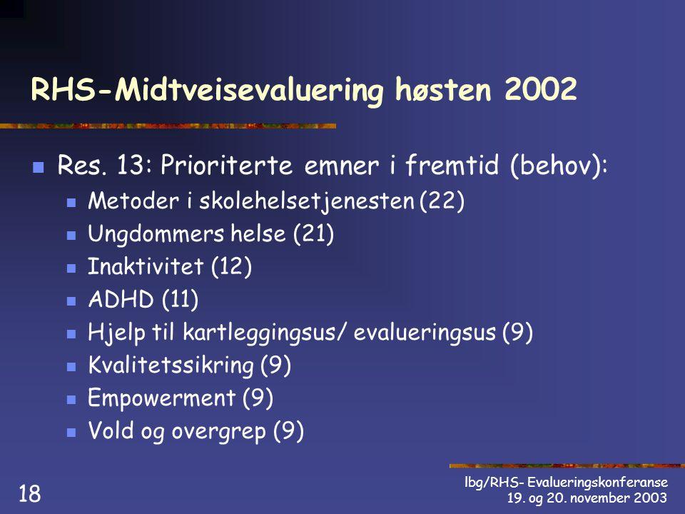 lbg/RHS- Evalueringskonferanse 19. og 20. november 2003 18 RHS-Midtveisevaluering høsten 2002 Res.