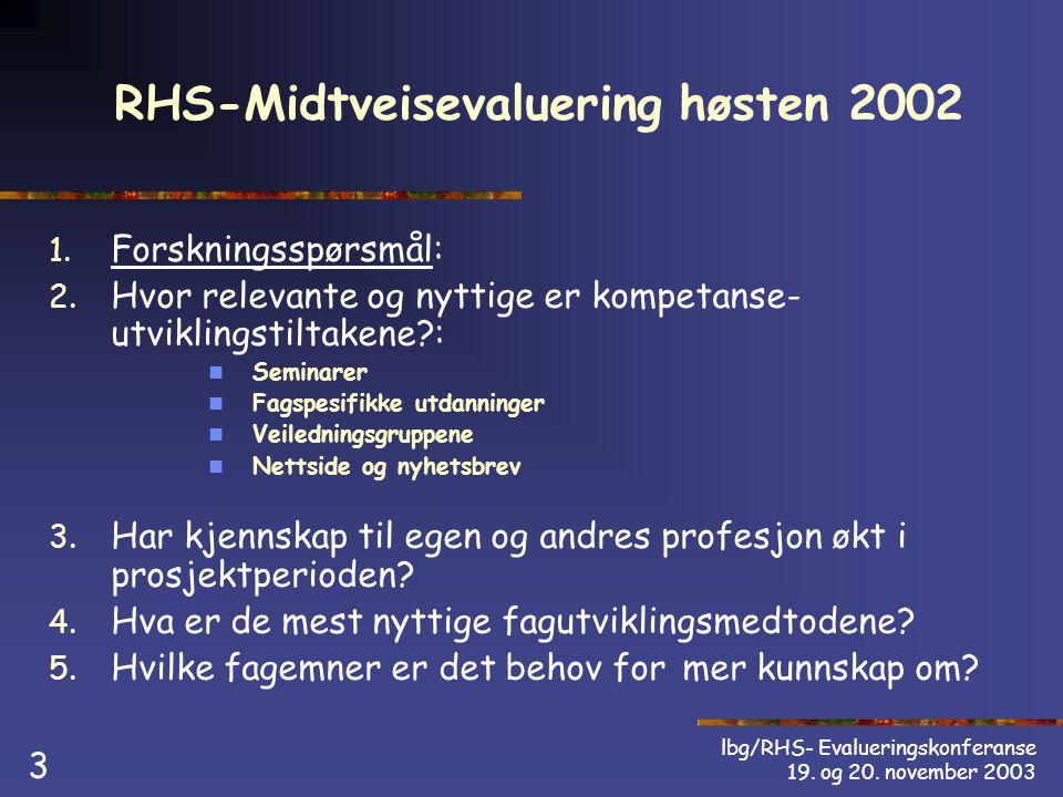 lbg/RHS- Evalueringskonferanse 19. og 20. november 2003 3 RHS-Midtveisevaluering høsten 2002 1.