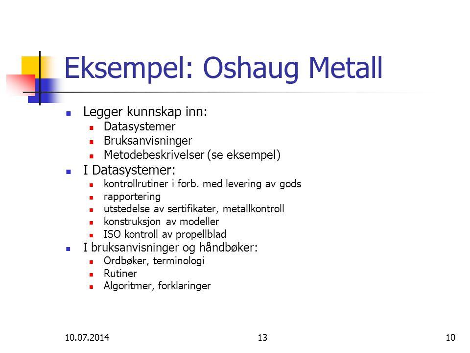 10.07.20141310 Eksempel: Oshaug Metall Legger kunnskap inn: Datasystemer Bruksanvisninger Metodebeskrivelser (se eksempel) I Datasystemer: kontrollrut